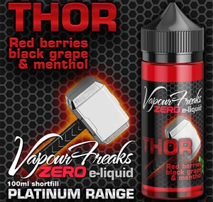 THOR 100ML E LIQUID VAPOUR FREAKS ZERO